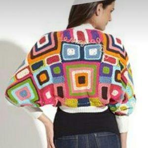 Desigual Granny Square Crochet Shrug Cardigan XL